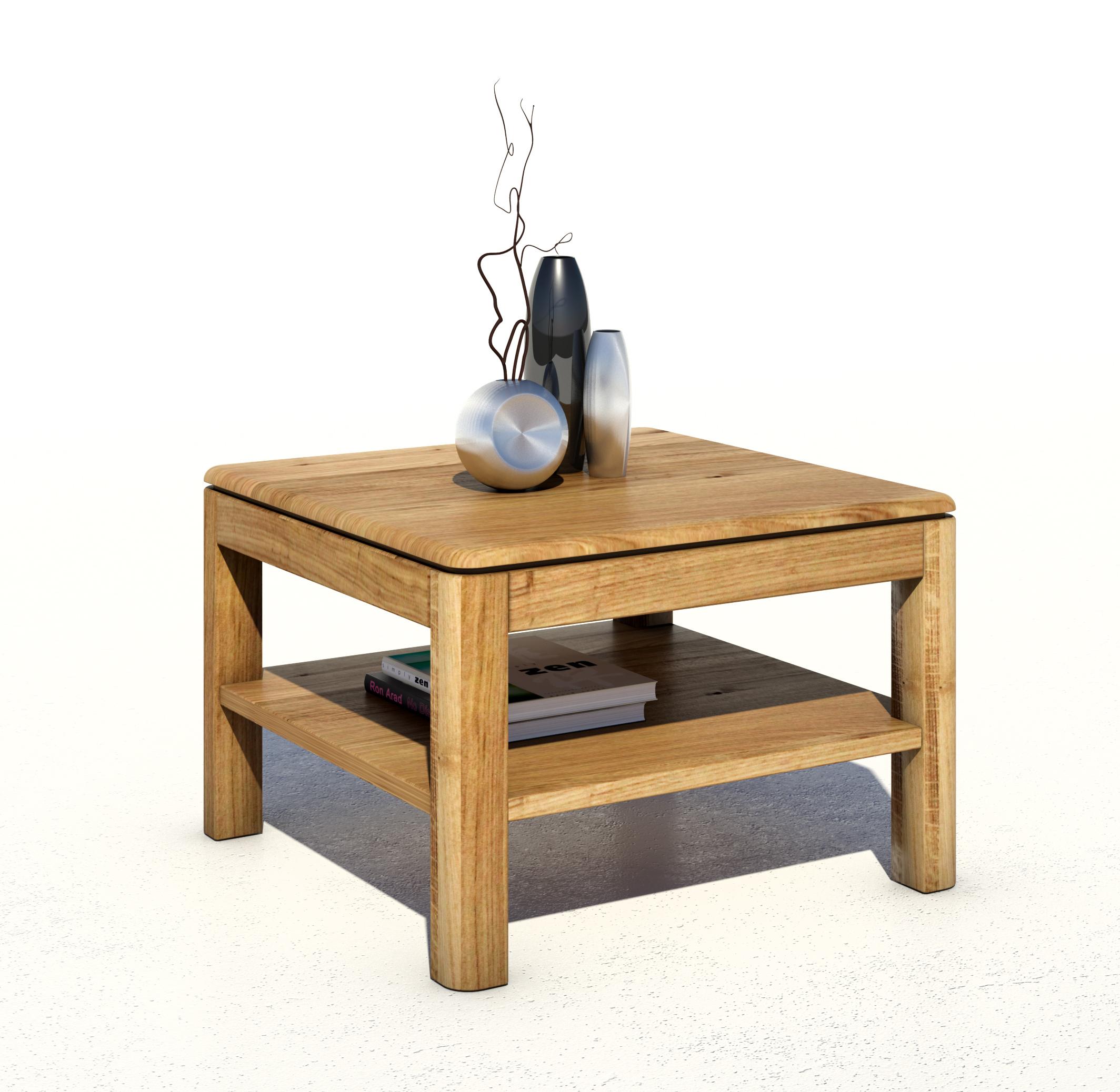 eleganter couchtisch 65x65 mit abgerundeten kanten wildeiche massiv ge lt serie kreta. Black Bedroom Furniture Sets. Home Design Ideas