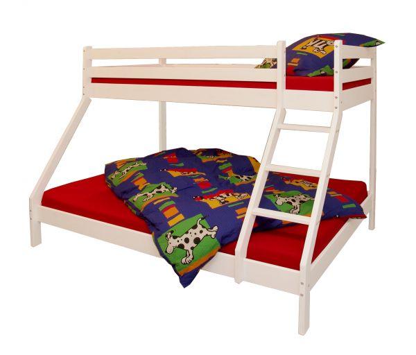 Etagenbett mit 3 Schlafplätzen Kiefer weiß