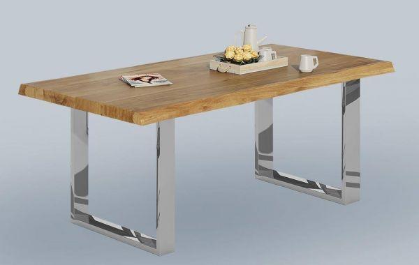 Baumkantentisch Wildeiche massiv geölt 200x100 cm mit Metallfüße in Chromoptik