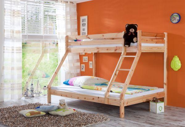 Etagenbett mit 3 Schlafplätzen Kiefer massiv lackiert