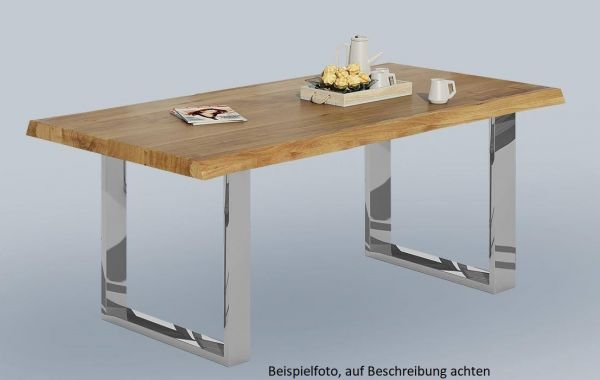 Baumkantentisch Wildeiche massiv geölt 180x100 cm mit Metallfüße in Chromoptik