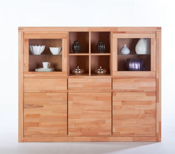Highboard Kernbuche massiv lackiert