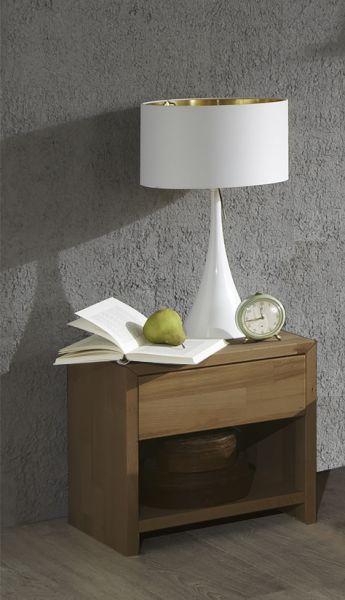 Eleganter Nachtschrank, Nachttisch aus massiver Wildeiche geölt