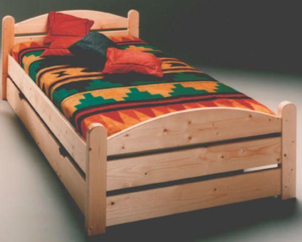 Bett mit Rollrost Kiefer massiv lackiert